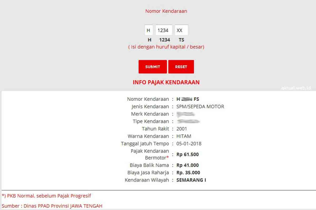 Cek Pajak Kendaraan Bermotor Jawa Tengah Online