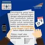 Info Perubahan Jadwal Kereta Api Mulai 1 April 2017