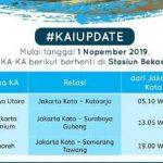 KA Jayakarta - Menoreh dan Kutut Berhenti Bekasi Per 1 November 2019